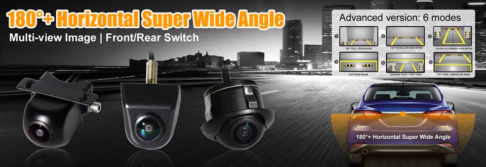 PARKVISION 180 -190 Degrees Wide Angle Viewing Front Backup Reverse Rear View Vehicle Car Camera Multi-view Image Parking Line 1