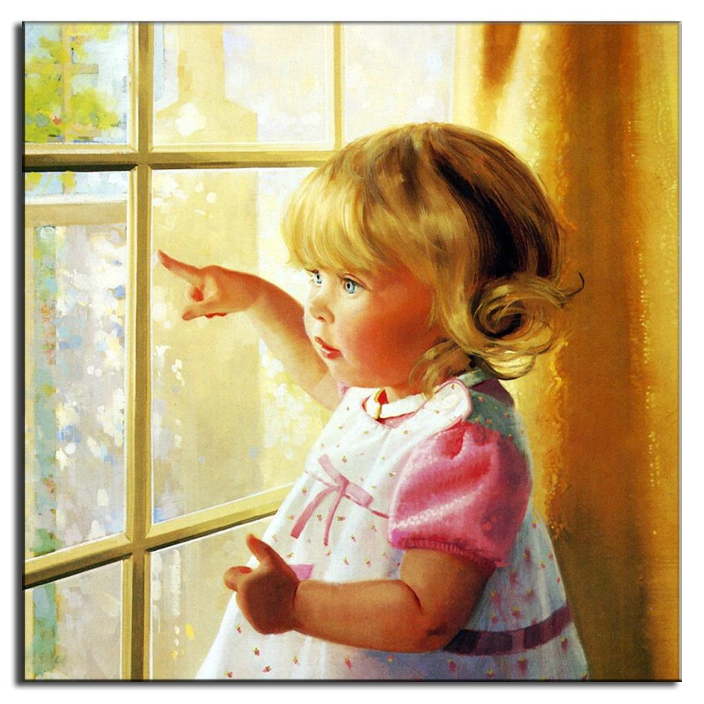 Classic Baby Girl Oil Painting On Canvas Wall Art Picture ...