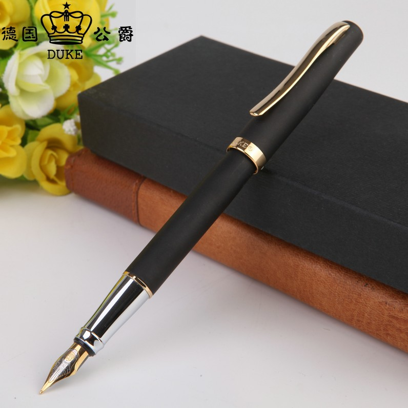 Duke 209 Golden And Black M Nib Fountain Pen For School & Business Stationary