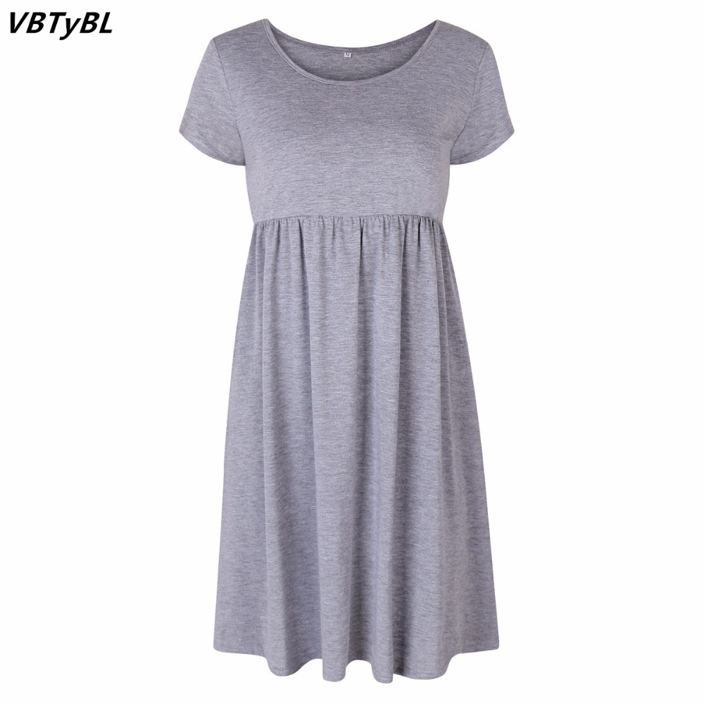 8008307903bc VBTyBL 2018 dresses Hot Sales Women O-neck Short Sleeve Knee-length Casual  Dress
