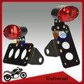 Black Cat Eye Motorcycle Tail Light Retro Brake Running Lamp License Plate Stand Horizontal Vertical Chopper Bobber Cafe Racer