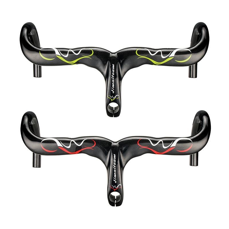 Ultralight 3K Glossy Full Carbon Fiber Integrated Handlebar and Stem Professional Road Bike Carbon Fiber Handlebar Bike Parts tator rc 3k carbon fiber plate 3 5mm tl2900