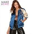 MAKEUCHIC Apparel Azul Mujeres Bomber Jacket Floral Bordado Bloque Color de la Capa Femenina Delgada Ocasional Streetwear Chaqueta Athleisure