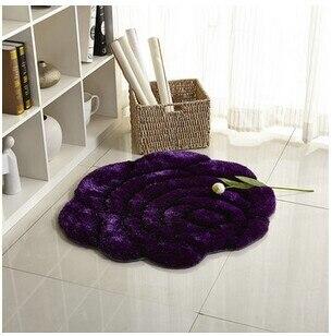 3D стерео ковер с розами журнальный столик для гостиной коврик диван кровать спальня коврики Европейская мода на заказ ковер - Цвет: Purple