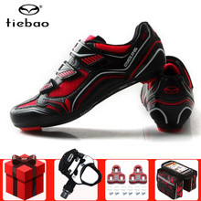 цена на TIEBAO pro cycling shoes sapatilha ciclismo SPD-SL pedals Self-locking breathable superstar sneakers athletic road bike shoes