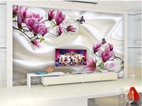 Home Decoration 3d bathroom wallpaper Magnolia silk reflection 3D TV backdrop modern living room wallpapers