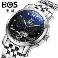 אנג 'לה BOS חיוג משנה עבודה עור עגל בנד נירוסטה גברים שעונים מכאניים אוטומטיים שלד שורש כף יד לגברים