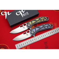 CH3509 Original Design Flipper Folding Knife D2 Blade Titanium Carbon Fiber Handle Outdoor Camping Hunting Pocke