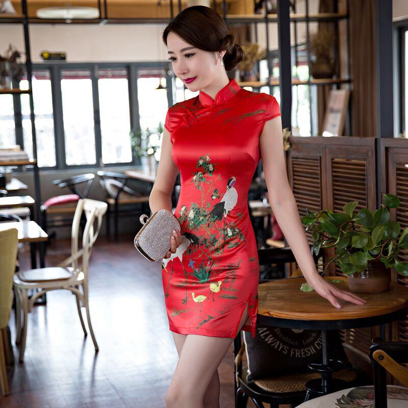 Hot Sale Red Chinese Women's Satin Mini Cheongsam Fashion Summer Style Lady Elegant Slim Qipao Dress Size S M L XL XXL 342505