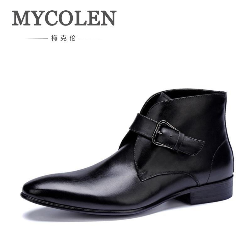 Dos Mycolen De Botas Macio Preta Fivela Ankle Sapatas Luxo Vinho Confortáveis vermelho Designer Homens Preto Marca Boots Moda Couro n1nSX5Wqpx