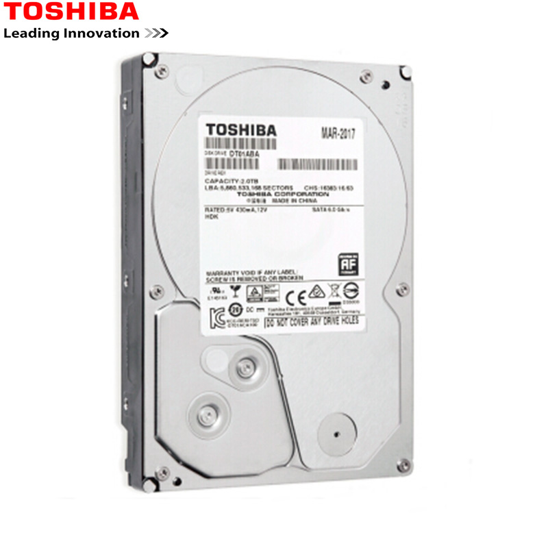 Toshiba HDD 3.5 2TB Computer Monitor Sata 3 internal Hard Disk Drive 7200RPM 32M Drevo Original High Speed 2017 new 3 5 inch 2000g 2tb 7200rpm sata professional surveillance hard disk drive internal hdd for cctv dvr security system kit