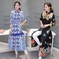 Новая Мода Цветочные Slim Fit Мандарин Воротник Одной Грудью Ветровка Женщины С Длинным Рукавом Линии Пальто