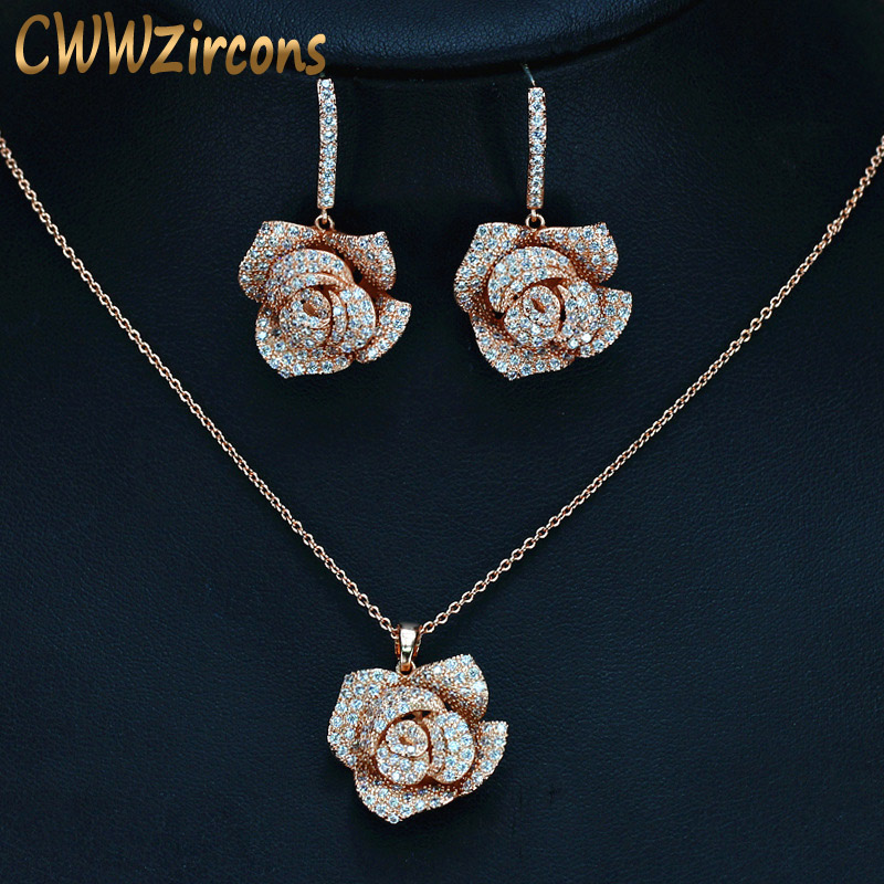 CWWZircons Geometric Flower Design Cubic Zircon Fashion Brand Women Rose Gold Color Earrings Necklace Pendant Jewelry Sets T016 alloy rose flower pendant necklace