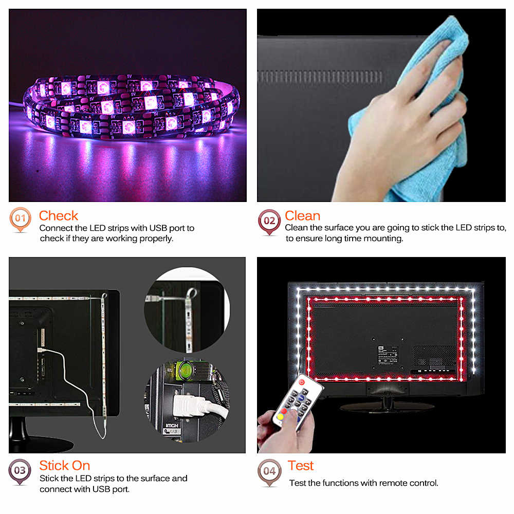 RGB 5050 USB LED Strip 5V Pita Fleksibel Lampu LED Strip Usb Tira LED Neon Pita RGB 17 Kunci remote TV Pencahayaan Latar Belakang 1M 3M