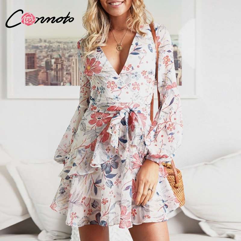 Conmoto Pink Floral Party Feminine Dress Women Ruffles Short