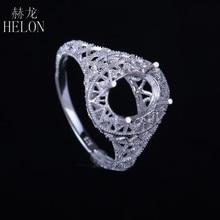 a88b808f1133 Helon 7x9mm ova antiguo filigrana vintage semi montaje de compromiso art  deco anillo sólido plata 925 anillo solitario joyería d.