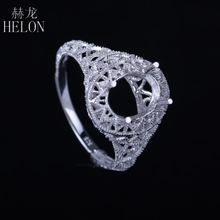 HELON 7X9MM OVA FILIGREE ANTIQUE VINTAGE SEMI MOUNT ENGAGEMENT RING ART DECO SOLID SILVER 925 SOLITAIRE RING WOMEN'S JEWELRY