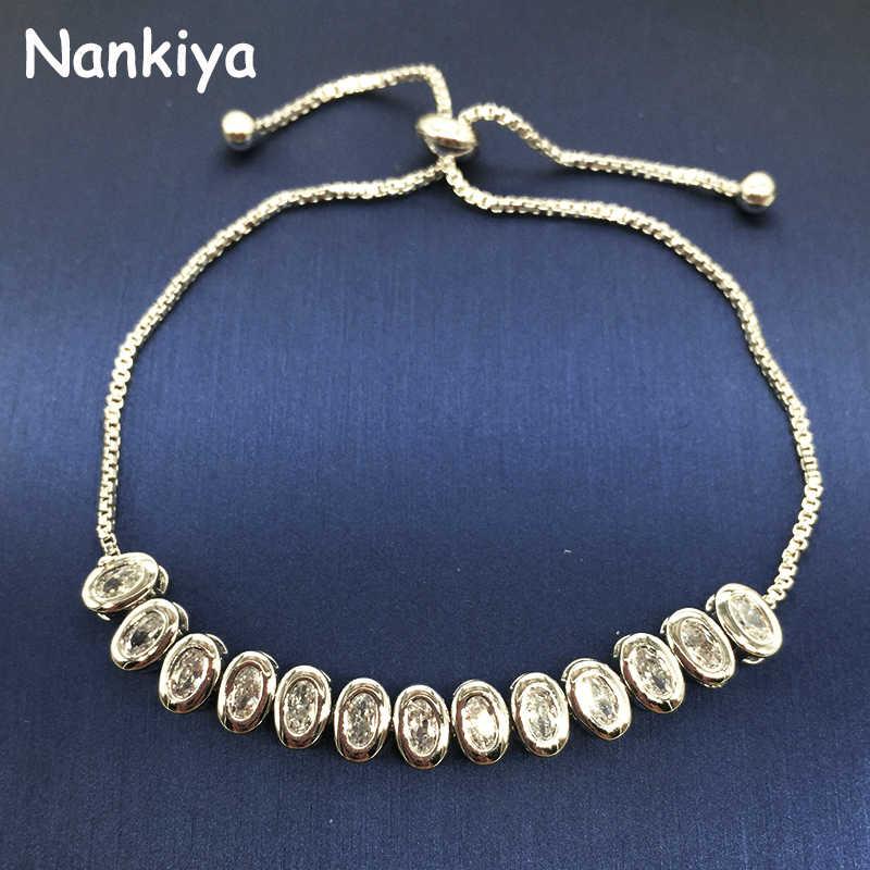 Nankiya Classic Oval Connected Bridal Bracelet Jewelry Shinning Big Zirconia Bangles with Adjustable Chain for Women NB145