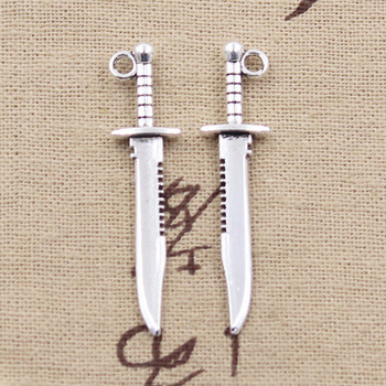 20pcs Charms Sword Dagger 43x10mm Antique Silver Color Plated Pendants Making DIY Handmade Tibetan Jewelry