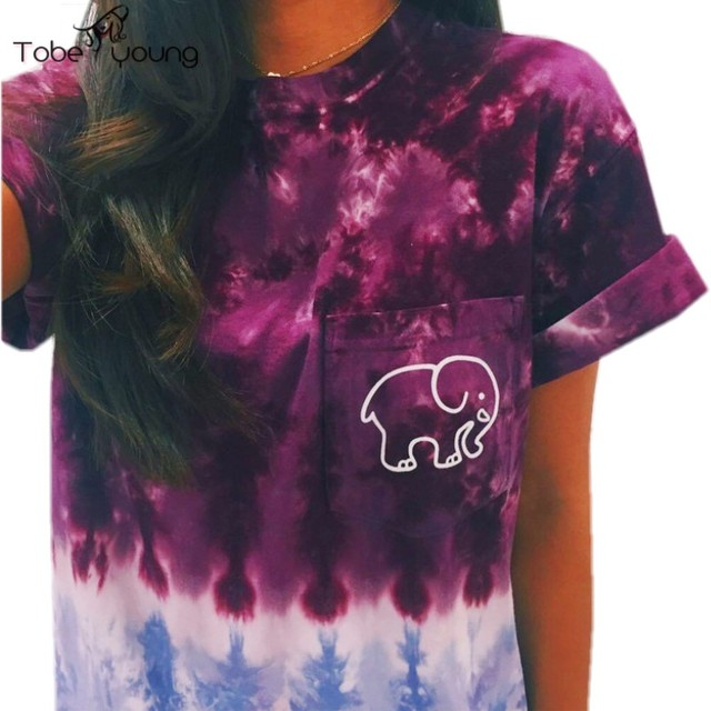 2016 Women's Summer Short Sleeve T-shirt Lovely Funny Elephant Printed Tie Dye Hipster Top Tee Shirt Women Ladies Blusa