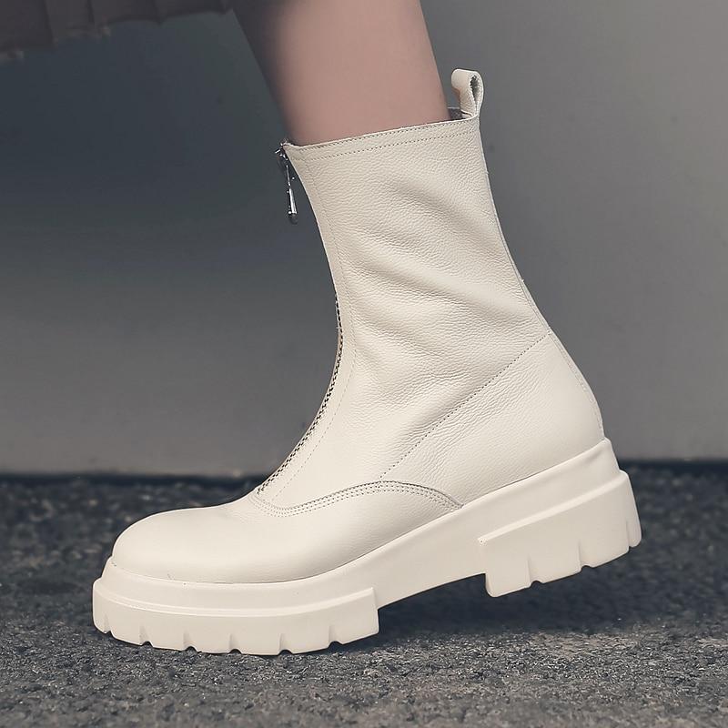 Vangull kobiety buty z prawdziwej skóry moda Handmade skóra bydlęca skóry lakierowanej skóry krótkie buty z przodu na zamek błyskawiczny platformy Martin buty obwód rury 25cm w Buty do kostki od Buty na  Grupa 1