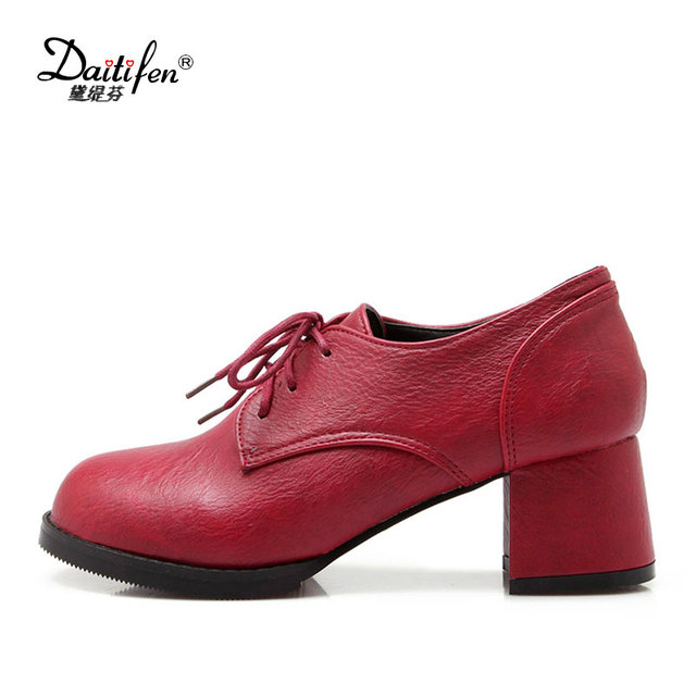 Lloprost Ke Neutral Style Mix Colors Women Pumps Pointed Toe Lace Up Casual Shoes Woman Square Heels Las Size 48 My696 In S From