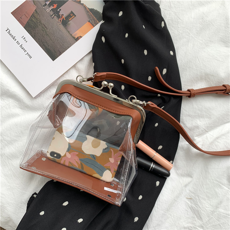Youda Original Fashion Ladies Shoulder Bag Simple Solid Color Casual Messenger Bags Transparent PVC Material Mobile Phone Packet in Shoulder Bags from Luggage Bags