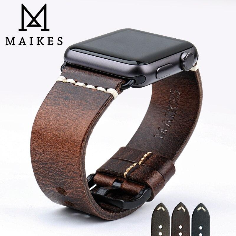 MAIKES 2019 Nouveau Bracelet En Cuir Pour Apple Montre Bande 44mm 40mm 42mm 38mm Série 4 3 2 1 tous les Modèles iWatch Bracelet Bracelet