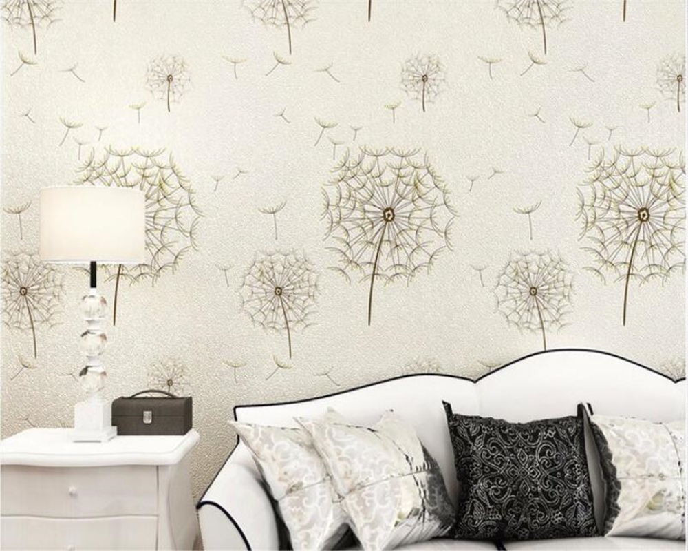 Beibehang Modern Family Wallpaper Bedroom Warm Dandelion Pastoral 3D Wall paper Living Room Background wallpaper for walls 3 d black dandelion wall sticker wallpaper page 3