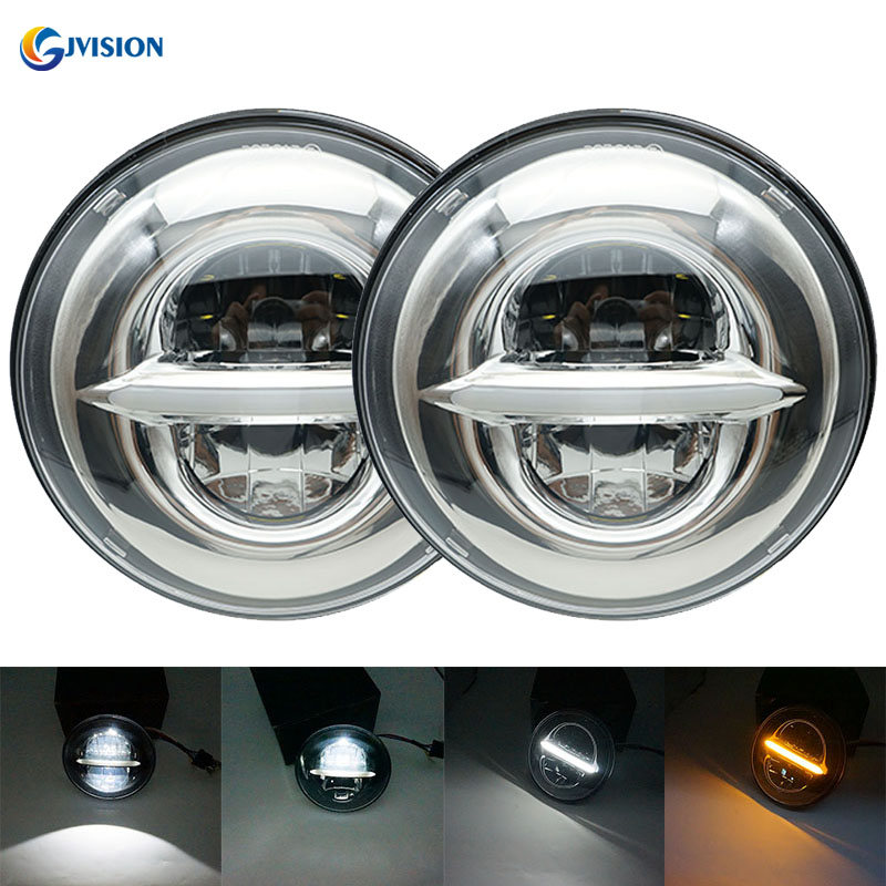 7 inch High/Low beam DRL Yellow turn signal Daymaker projector headlight for Jeep Land Rover 90/110 Defender 200 Tdi headlamp 75w 5d 7 inch round led projector daymaker headlight for jeep wrangler jk land rover defender 90