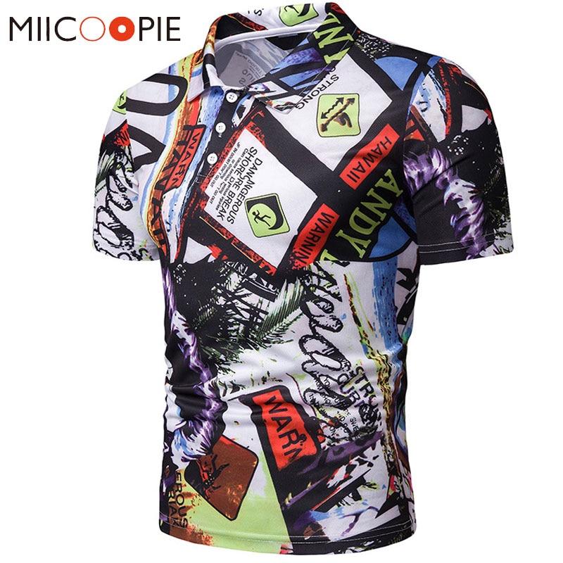 Men   Polo   Shirt Summer Casual Personality Graffiti Printed Short Sleeve   Polos   Para Hombre Men Camisa   Polo   Masculina Tops Tees XXL
