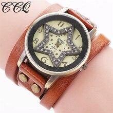 CCQ Luxury Brand Vintage Star Cow Leather Bracelet Watch Women Dress WristWatch Quartz Watch Casual Clock Relogio Feminino 1756