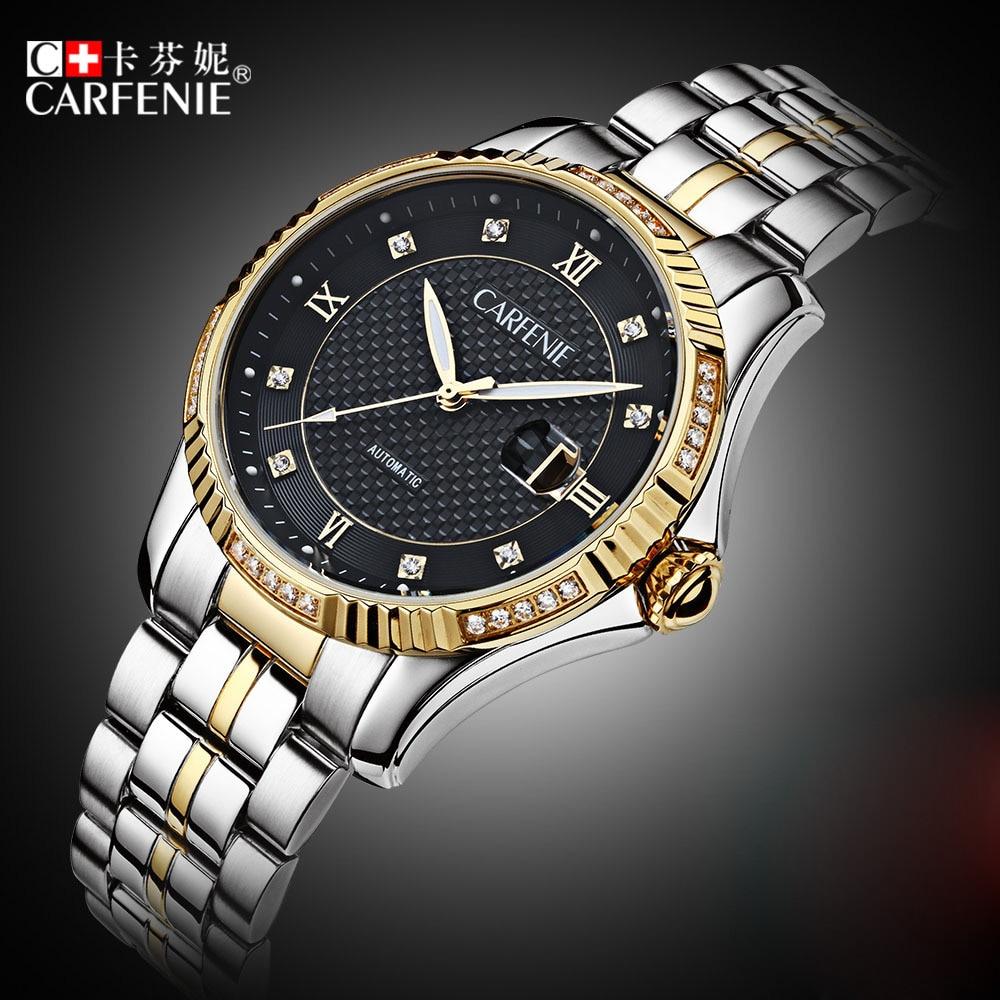 Luxury Automatic Mechanical Wristwatches Carfenie Waterproof Men Black Watch Top Brand Fashion Watch Gold Clock Montre Homme