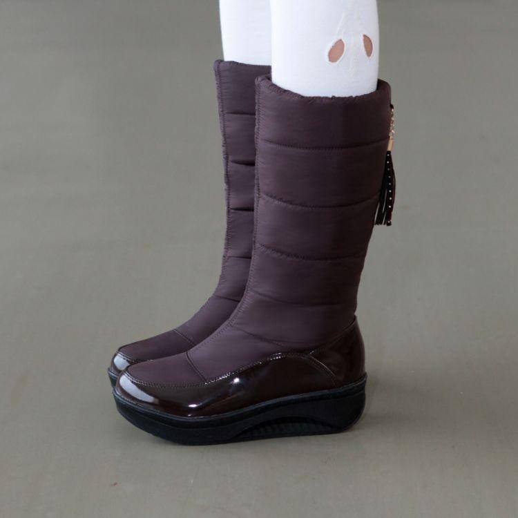 Women Snow Boots Winter Warm Platform Fur Fringe Shoes 34