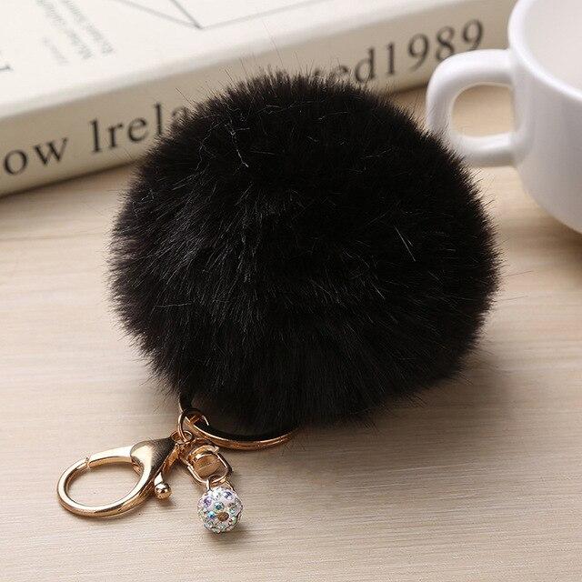 Big Faux หนัง 8 เซนติเมตรปลอมขนสัตว์ PomPom พวงกุญแจกระต่ายผมกระเป๋า Pom Pom Ball Key Chain จี้ Portefor ผู้หญิงน่ารักปุย