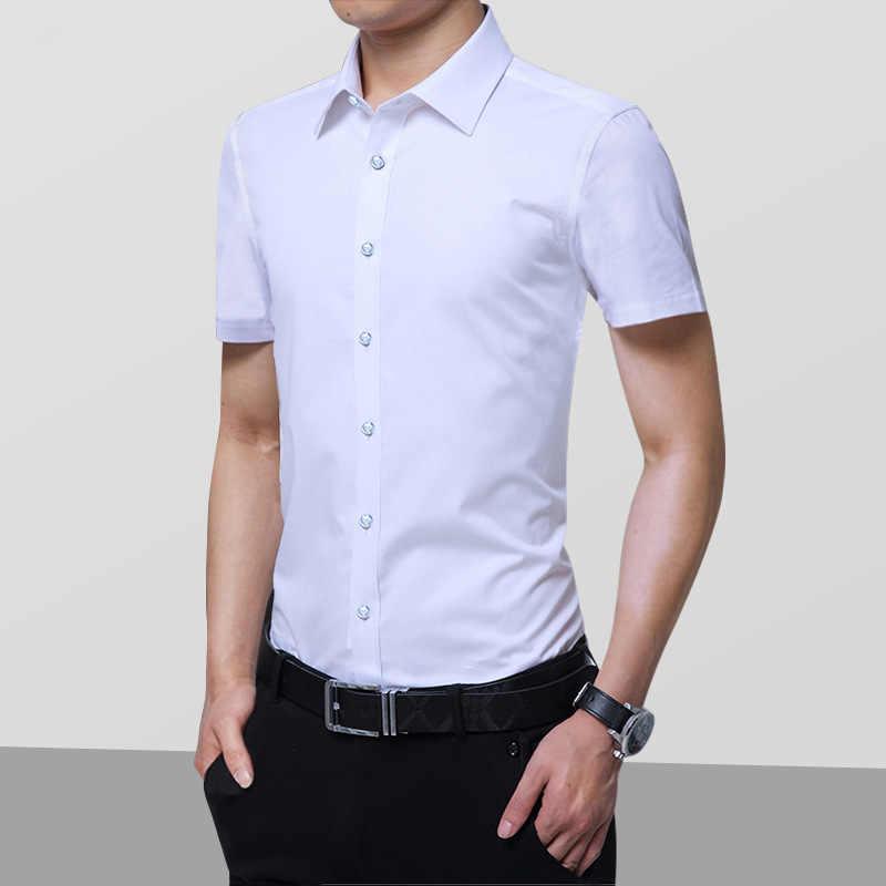 Yeni Varış Moda Erkek Slim Fit Benzersiz Yaka şık elbise Kısa Kollu Gömlek Erkek Elbise Gömlek Asya Boyutu 6XL 7XL 8XL