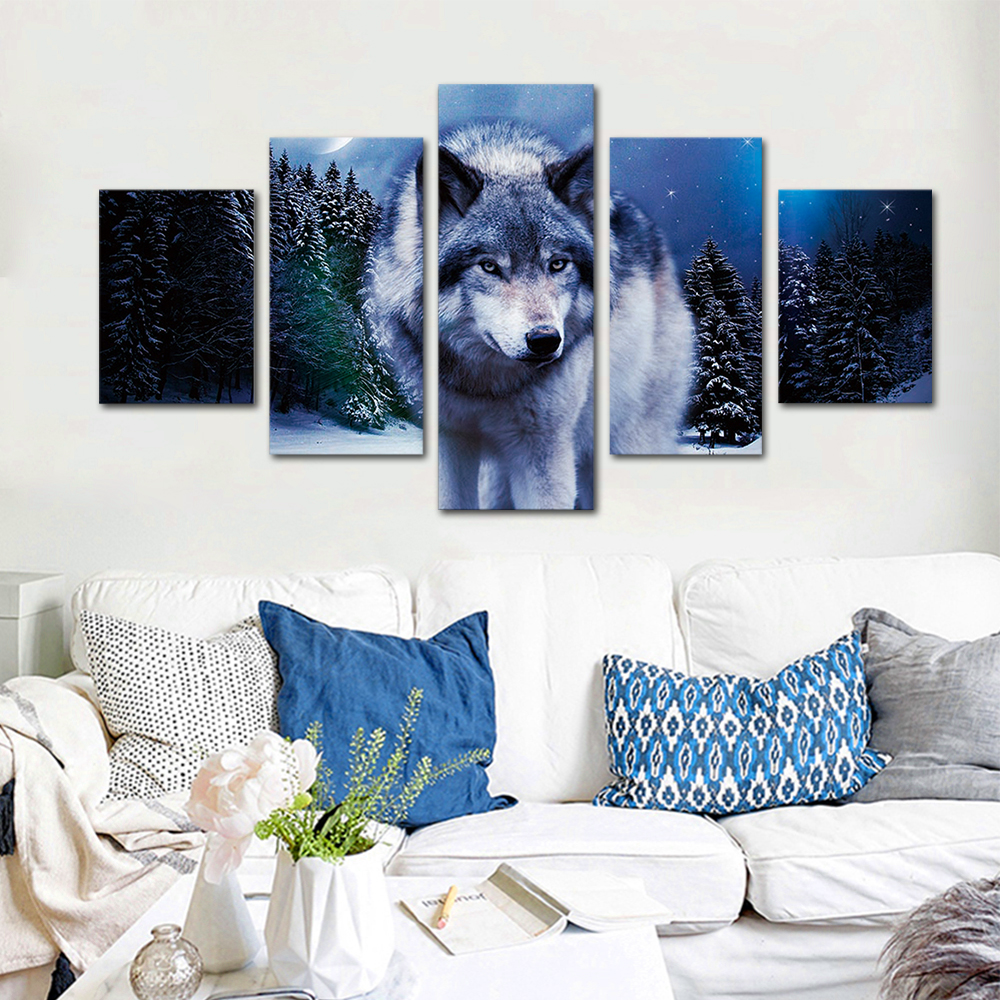 Unframed HD Print 5 Canvas Art Painting Lonely Wolf Living Room Decoration Animal Spray Painting Mural Unframed