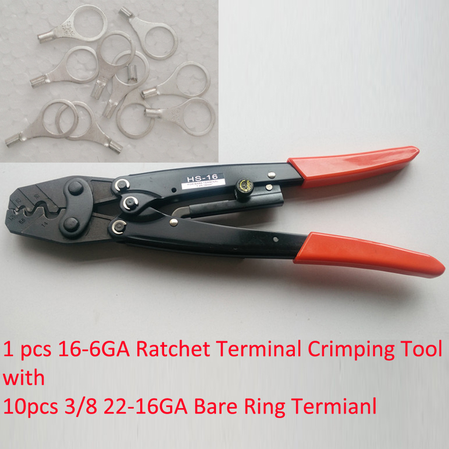 HS-16 Ratchet Terminal Crimper for Non-insulated AWG16-6 with 10 3/8 22-16Ga Wire Ring Terminal Connector Uninsulated xkai 14pcs 6 19mm ratchet spanner combination wrench a set of keys ratchet skate tool ratchet handle chrome vanadium