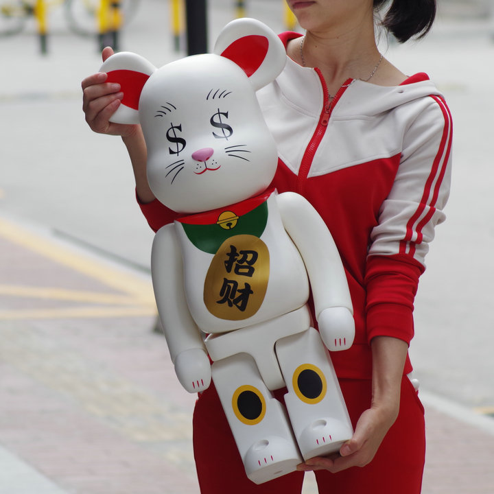 цены 1000% Bearbrick Violent Bear Building Block Bear Lucky Cat Model Doll Home Decoration Gift