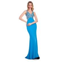 2016 New Arrival Horny Blue Lengthy Night Costume Anxia Slim Bandage Beading Sleeveless Elegant Formal Promenade Robes Spring Plus Dimension