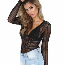 Feitong Spring Summer Women Long Sleeve Sexy Lace Backless Jumpsuit Plunging V neck Bodysuit Combishort Femme Ete n#1(China)