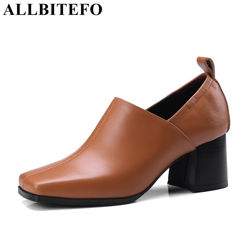 ALLBITEFO plus size 33-42 genuine leather square toe thick heel women pumps hot sale medium heel high shoes fashion high heels new women s high heels pumps square thick heel pointed toe genuine leather med high heel shoes for lady tide women shoes plus 42