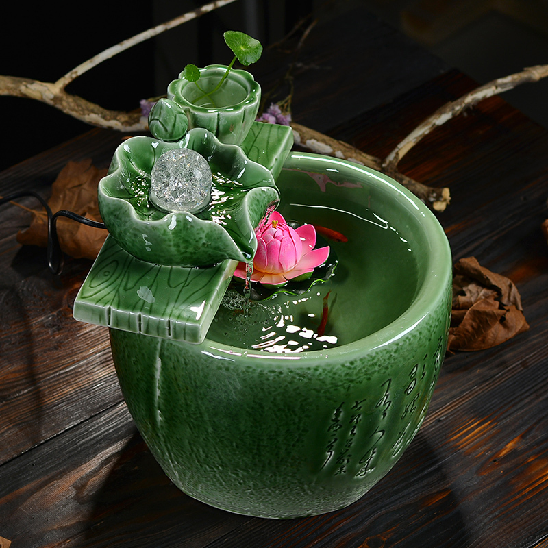 Celadon Water Fountain Lucky Feng Shui Home Decor Gifts