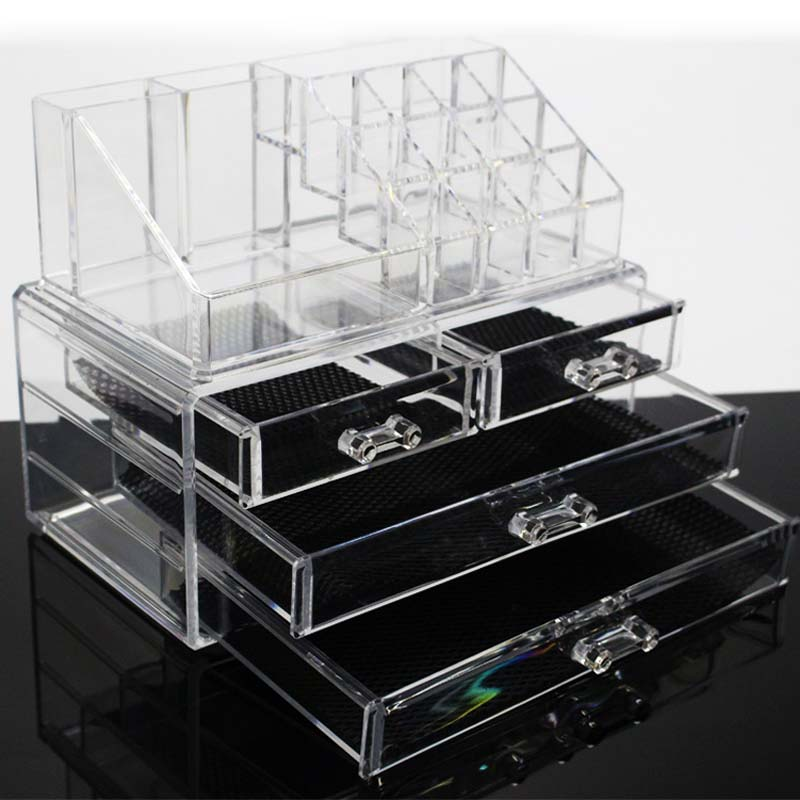 New Clear Acrylic Makeup Storage Case Nail Polish Rack Lipstick Cosmetic Storage box Holder Makeup Brush Makeup Organizer 1