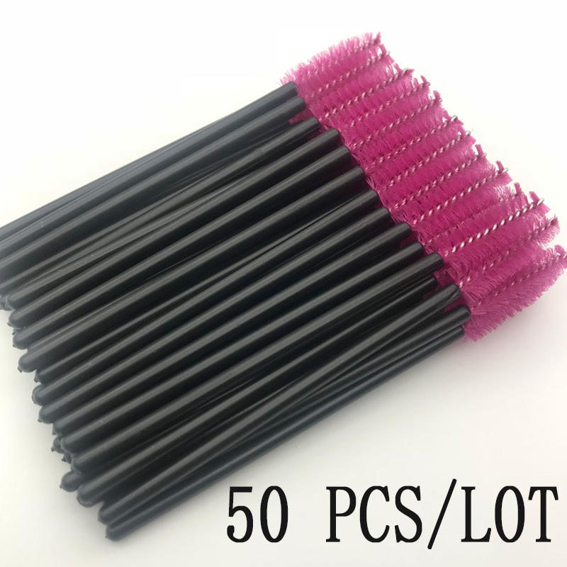 50 Pcs Eyelash Brushes Makeups Brushes Disposable Mascara Wands Applicator Eye Lashes Cosmetic Brush Maquiagem Cilio Makeup Tool(China)