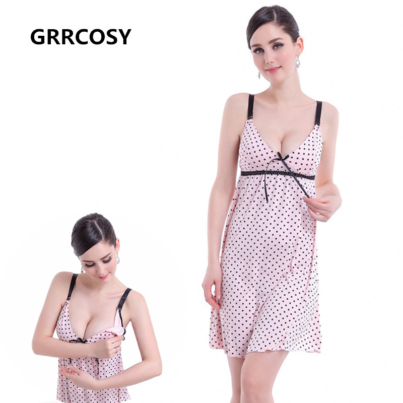 GRRCOSY Pink Dot Bowknot Nursing Bra Tank Caim Breastfeeding Pregnancy Dress Clothes Pregnant Women Maternity Shirts Tees
