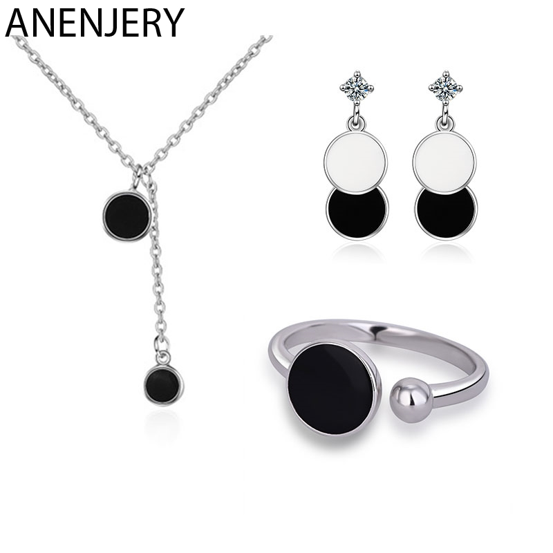 ANENJERY 925 Sterling Silver Jewelry Sets Epoxy Black Round Wafer Necklace Earrings Ring For Women Korean Jewelry in Jewelry Sets from Jewelry Accessories