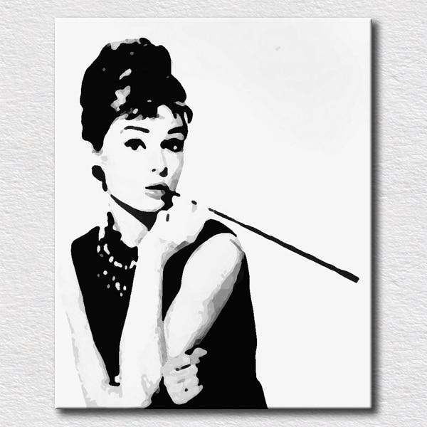 Classical pose Audrey Hepburn pictures decorative oil painting pop ...