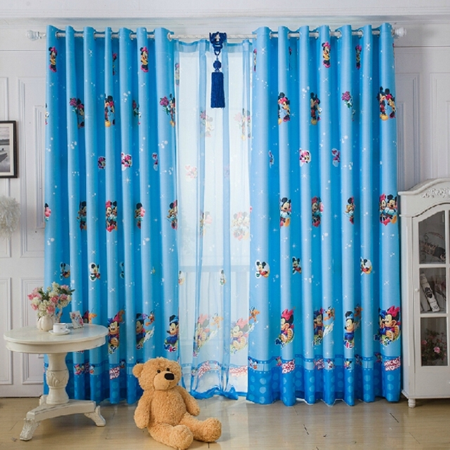 Blackout Curtains boys blue blackout curtains : Blue / Pink Cute Cartoon sheer curtains for boy & girl's room kids ...