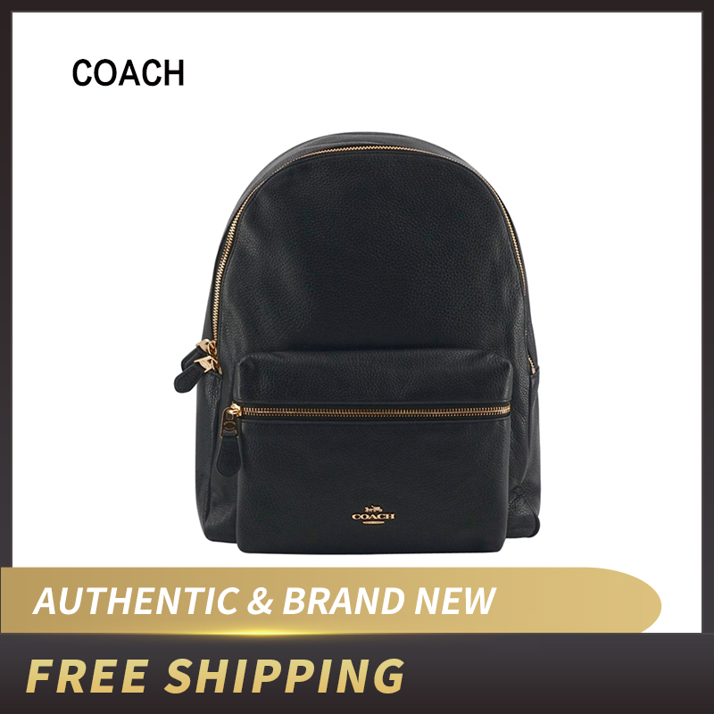 Coach  Pebble Leather Full Size Charlie Backpack Black F29004
